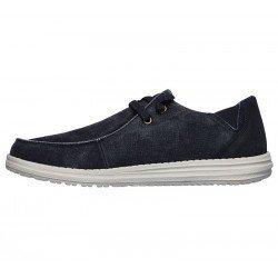 Comprar Online Zapatos Skechers Relaxed Fit Melson Raymon tipo mocasín, color azul BLU, modelo 66387, vista lateral interior