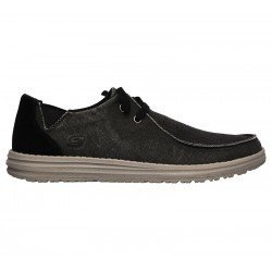 Comprar Online Zapatos Skechers Relaxed Fit Melson Raymon tipo mocasín, color negro BLK, modelo 66387, vista lateral exterior