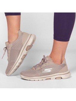Comprar Online Zapatillas Skechers Go Walk 5 Lucky, modelo 15902, color taupe TPE, portada