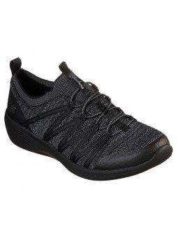 Comprar Online Skechers Flex Arya, sin cordones, modelo 23757, color negro BBK, vista portada