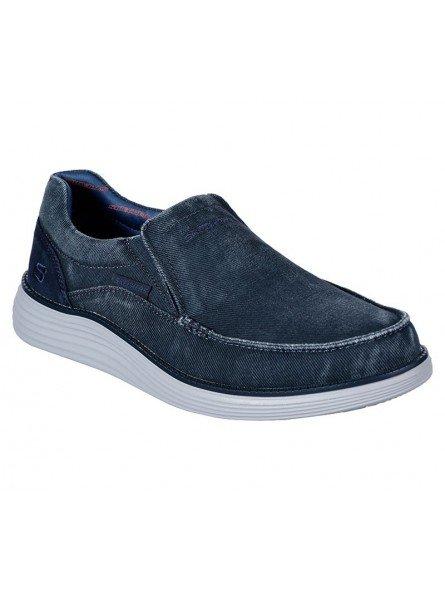Comprar Online Zapato Mocasín Skechers Status 2.0 Mosent sin cordones, modelo 66014, color azul BLU, portada