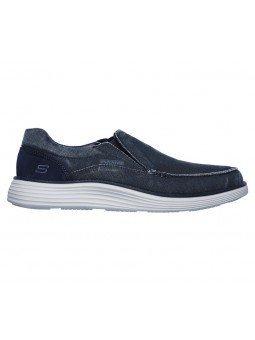Comprar Online Zapato Mocasín Skechers Status 2.0 Mosent sin cordones, modelo 66014, color azul BLU, vista lateral exterior