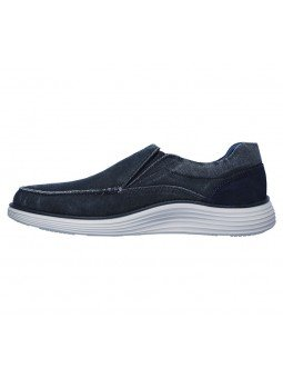 Comprar Online Zapato Mocasín Skechers Status 2.0 Mosent sin cordones, modelo 66014, color azul BLU, vista lateral interior