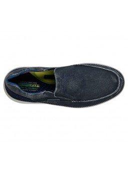 Comprar Online Zapato Mocasín Skechers Status 2.0 Mosent sin cordones, modelo 66014, color azul BLU, vista aerea