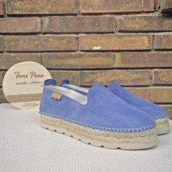 Comprar Online Alpargatas Toni Pons planas, modelo espardeña Aurem, color azul, vista portada