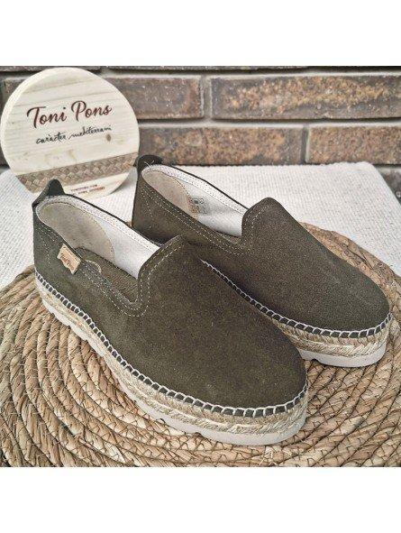 Comprar Online Alpargatas Toni Pons planas, modelo espardeña Aurem, color caqui, vista portada