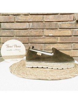 Comprar Online Alpargatas Toni Pons planas, modelo espardeña Aurem, color caqui, vista lateral exterior