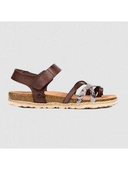 Comprar Online Sandalia plana Yokono Shoes, modelo Chipre 149, color marrón, vista lateral exterior
