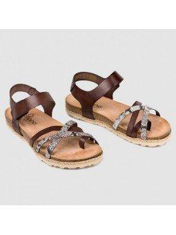 Comprar Online Sandalia plana Yokono Shoes, modelo Chipre 149, color marrón, vista duo frontal