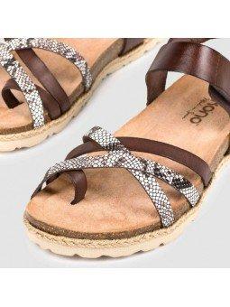 Comprar Online Sandalia plana Yokono Shoes, modelo Chipre 149, color marrón, vista de las tiras