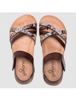 Comprar Online Sandalia plana Yokono Shoes, modelo Chipre 149, color marrón, vista aerea