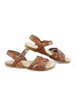 Comprar Online Sandalia plana Yokono Shoes, cangrejera modelo Genova 085, color nuez, vista lateral exterior