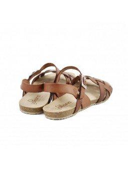 Comprar Online Sandalia plana Yokono Shoes, cangrejera modelo Genova 085, color nuez, vista del talón