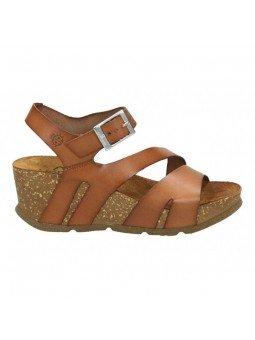 Comprar Online Sandalia con plataforma Yokono Shoes, modelo Bari 002, color nuez, vista lateral exterior