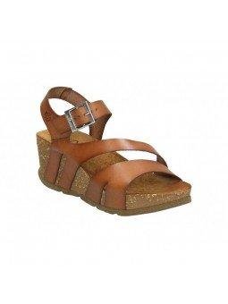 Comprar Online Sandalia con plataforma Yokono Shoes, modelo Bari 002, color nuez, vista lateral frontal
