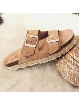 Comprar Online Sandalia con plataforma Yokono Shoes, modelo Java 066, color tierra, vista lateral exterior