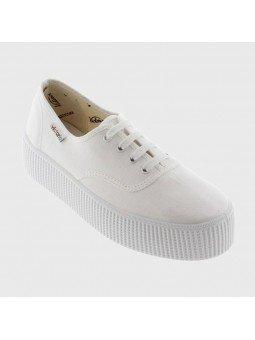 Comprar Zapatillas Victoria clásicas, Ingesas con cordón y plataforma 4 centímetros, modelo 116100, color blanco, vista portada