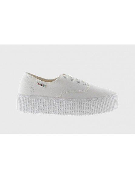 Comprar Zapatillas Victoria clásicas, Ingesas con cordón y plataforma 4 cent., modelo 116100, blanco, vista lateral exterior