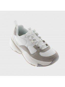 Comprar Online Sneaker Victoria con plataforma, modelo 147104, color blanco-gris, vista ladeada