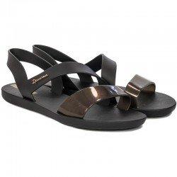 Comprar chanclas planas cojidas Ipanema Vibe Sandal Fem, modelo 82429, color negro, vista duo
