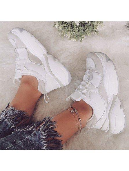 Comprar Online Sneaker Victoria con plataforma, modelo 147104, color blanco-gris, vista portada