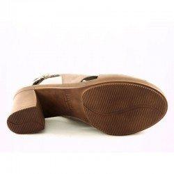 Sandalia Sergiotti by calzature con tacón, modelo 17-250, color beig, vista de la suela