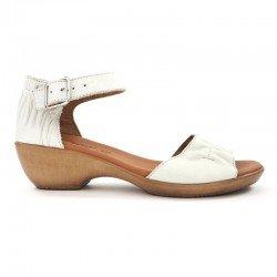 Comprar Online sandalia con cuña SERGIOTTI, modelo N6-566, color blanco, vista lateral exterior