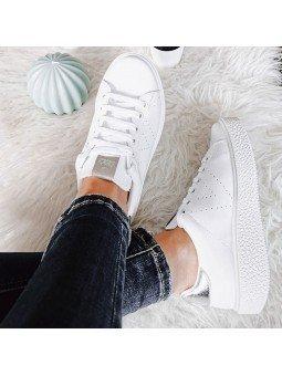 Comprar Online Zapatillas Victoria tipo tenis, de piel, con plataforma, modelo 260115 sneakers, color blanco, vista duo