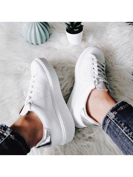 Comprar Online Zapatillas Victoria tipo tenis, de piel, con plataforma, modelo 260115 sneakers, color blanco, vista portada