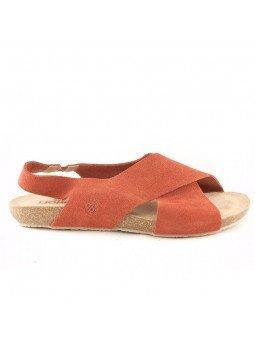 Comprar Online Sandalia plana Yokono shoes, color camel, modelo Ibiza 125, vista lateral exterior