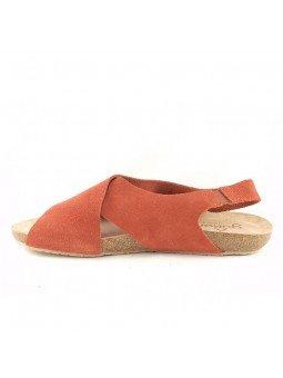 Comprar Online Sandalia plana Yokono shoes, color camel, modelo Ibiza 125, vista lateral interior