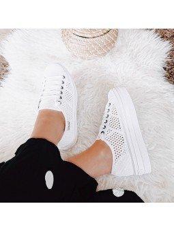Comprar Zapatillas Victoria con plataforma, modelo 92128 sneakers, color blanco, vista del lateral