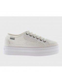 Comprar Zapatillas Victoria con plataforma, modelo 92128 sneakers, color blanco, vista del lateral exterior
