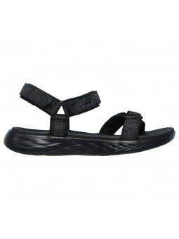 Comprar Online Sandalias Skechers On The Go 600 Radiant, modelo 15315, color negro BBK, vista lateral exterior