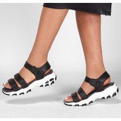 Comprar Sandalia Skechers D'lites, modelo 31514, color BLK negro-blanco, vista portada