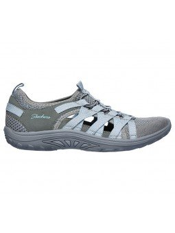 Sandalias cerradas Skechers relaxed fit reggae fest hooked, modelo 158005, color gris gyaq, vista lateral exterior