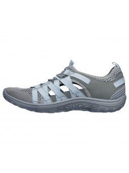 Sandalias cerradas Skechers relaxed fit reggae fest hooked, modelo 158005, color gris gyaq, vista lateral interior