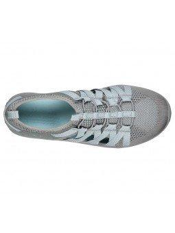Sandalias cerradas Skechers relaxed fit reggae fest hooked, modelo 158005, color gris gyaq, vista aerea