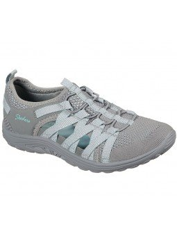 Sandalias cerradas Skechers relaxed fit reggae fest hooked, modelo 158005, color gris gyaq, vista frontal