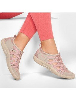 Sandalias cerradas Skechers relaxed fit reggae fest hooked, modelo 158005, color beige-rosa ttpk, vista portada.