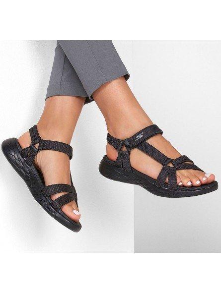 Comprar sandalias deportivas skechers on the go 600 Brilliancy, modelo 15316, color negro bbk, vista portada