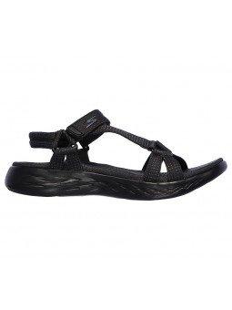Comprar sandalias deportivas skechers on the go 600 Brilliancy, modelo 15316, color negro bbk, vista lateral exterior
