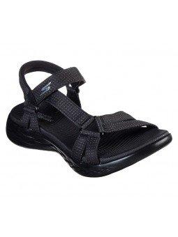 Comprar sandalias deportivas skechers on the go 600 Brilliancy, modelo 15316, color negro bbk, vista frontal