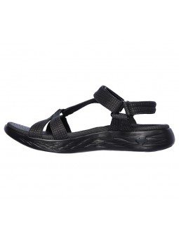 Comprar sandalias deportivas skechers on the go 600 Brilliancy, modelo 15316, color negro bbk, vista lateral interior