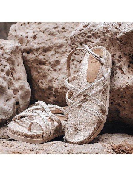 Comprar Online Sandalias Toni Pons planas, modelo espardeña Daisy-TB, con tiras, color tierra, vista portada