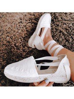 Comprar Online Alpargatas Toni Pons planas, modelo espardeña Collete, con tiras, color blanco, vista portada