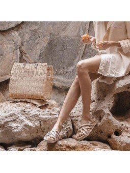 Comprar Online Sandalias Toni Pons planas, modelo espardeña Daisy-TB, con tiras, color tierra, vista conjunto