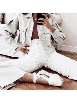 Comprar Online Alpargatas Toni Pons planas, modelo espardeña Collete, con tiras, color blanco, vista conjunto