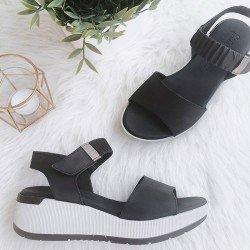 Sandalia con plataforma Sergiotti by calzature, modelo 8-216, color negro, vista portada