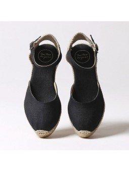 Comprar Online Alpargatas Toni Pons de tejido con cuña, Espadrilles modelo Romina, color negro, vista aerea